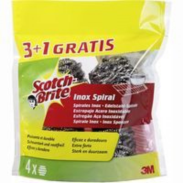 Scotch brite estropajo de acero inoxidable 3+1 Gratis