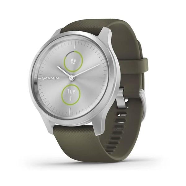 Garmin vívomove style smartwatch plata 42mm amoled con correa silicona verde